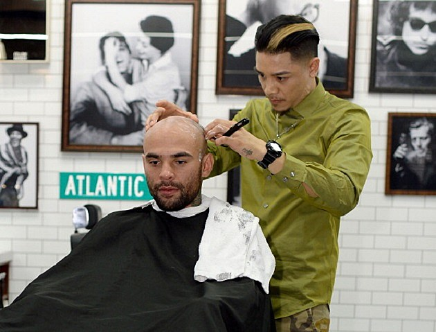 GQ Barber Shop Grand Opening With Fellow Barber At Barclays Center